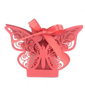 Contenant dragées papillon baptême, mariage Rouge 10 pcs