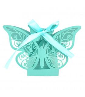 Contenant dragées papillon baptême, mariage Turquoise 10 pcs