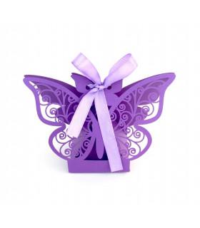 Contenant dragées papillon baptême, mariage Violet 10 pcs