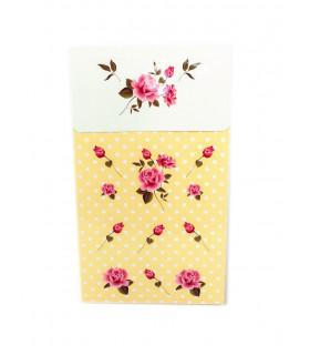 Sachet vintage motif floral Jaune 6 pcs