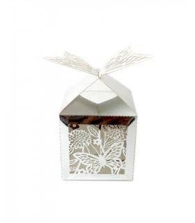 Contenant dragées cube motif papillon Argent 10 pcs