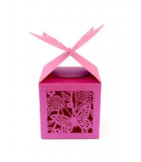 Contenant dragées cube motif papillon Fushia Nacré 10 pcs