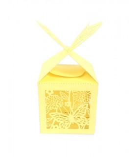 Contenant dragées cube motif papillon Jaune 10 pcs