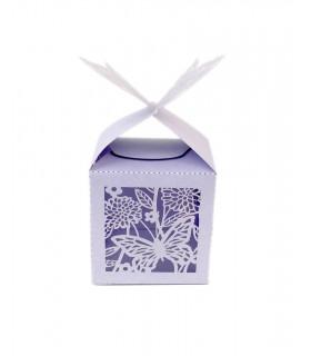 Contenant dragées cube motif papillon Parme 10 pcs
