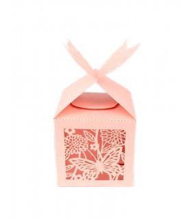Contenant dragées cube motif papillon Rose 10 pcs
