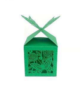 Contenant dragées cube motif papillon Vert 10 pcs