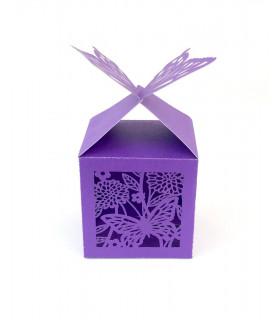 Contenant dragées cube motif papillon Violet 10 pcs