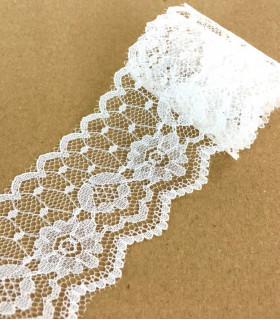 Ruban dentelle motif floral 45mm x 1m Blanc