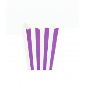 Sachet pop-corn motif rayures Violet 6 pcs