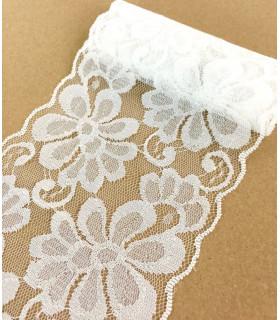 Ruban dentelle motif floral 115mm x 1m Blanc