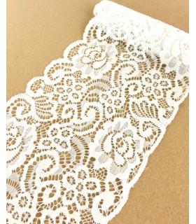 Ruban dentelle élastique motif floral 150mm x 1m Blanc