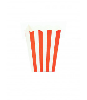 Sachet pop-corn motif rayures Rouge 6 pcs