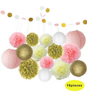 Kit deco 16pcs pompom,lampion,guirlande Blanc/Or/Rose