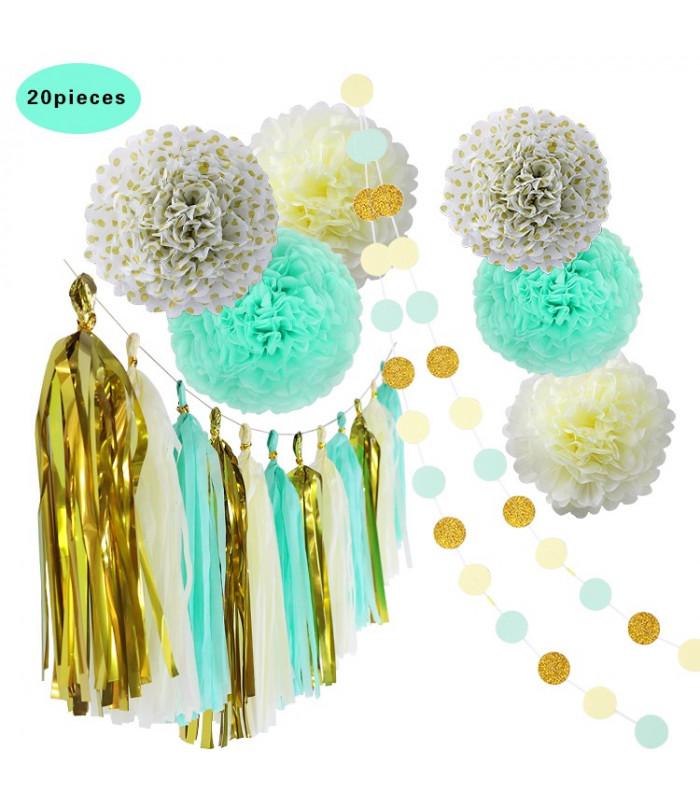 kit deco 20pcs cr me bleu pastel or pompom lampion guirlande. Black Bedroom Furniture Sets. Home Design Ideas