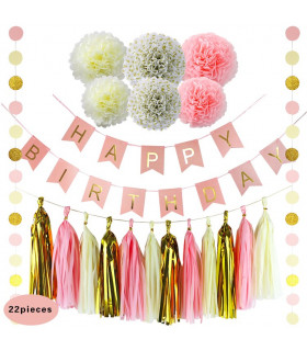 Kit deco 22pcs pompom,lampion,guirlande Crème/Rose/Or