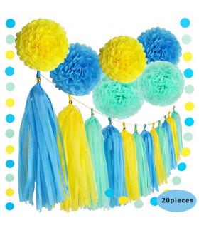 Kit deco 20pcs pompom, guirlande Jaune/Bleu Azur/Bleu Pastel