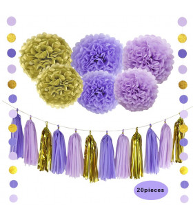 Kit deco 20pcs pompom, guirlande Violet/Parme/Or