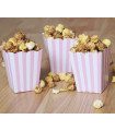 Sachet pop-corn motif rayures Rose 6 pcs