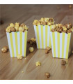 Sachet pop-corn motif rayures Jaune 6 pcs