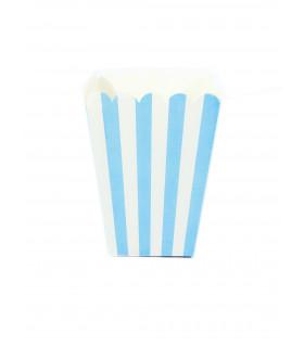 Sachet pop-corn motif rayures Bleu 6 pcs