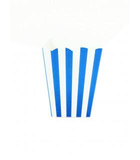 Sachet pop-corn motif rayures Bleu Électrique 6 pcs