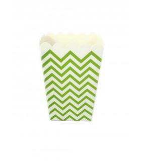 Sachet pop-corn motif chevrons Vert 6 pcs