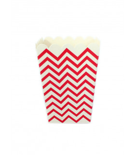 Sachet pop-corn motif chevrons Rouge 6 pcs
