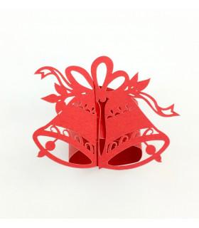 Rond de serviette cloche Noël Rouge 12pcs