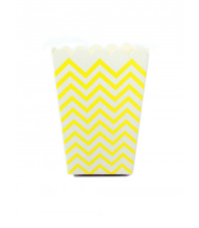 Sachet pop-corn motif chevrons Jaune 6 pcs