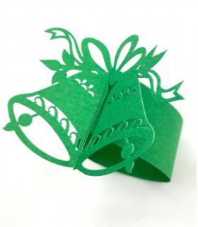 Rond de serviette cloche Noël Vert 12pcs
