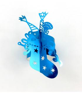 Rond de serviette chaussette Noël bleu métallisé 12pcs
