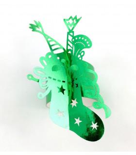 Rond de serviette chaussette Noël Vert métallisé 12pcs