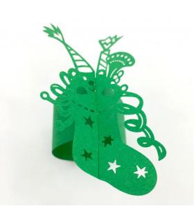 Rond de serviette chaussette Noël Vert 12pcs