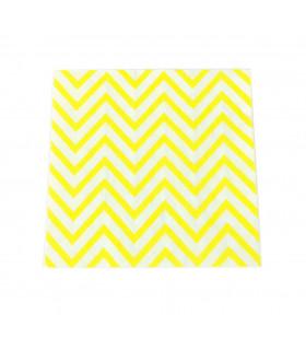 Serviette en papier motif chevrons festive Jaune 20 pcs