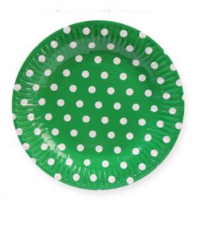 Assiettes à dessert anniversaire fêtes vert motif pois blanc 10pcs