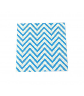 Serviette en papier motif chevrons festive Bleu 20 pcs