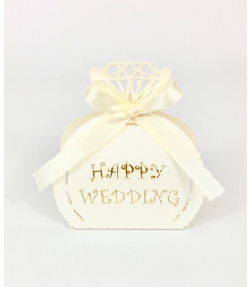 Contenant dragées happy Wedding Ivoire 10pcs
