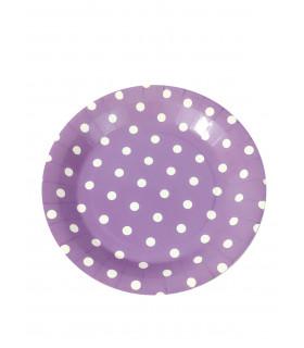 Assiette 23cm motif pois festive Violet 12 pcs