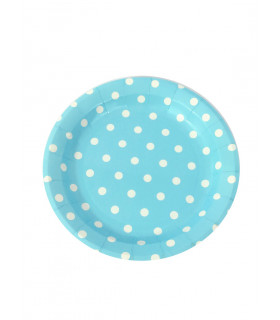 Assiette 23cm motif pois festive Bleu 12 pcs