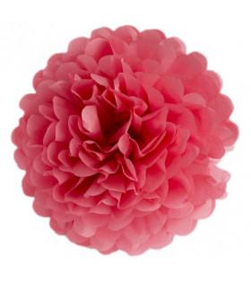 Pompon deco salle papier de soie Rouge Corail
