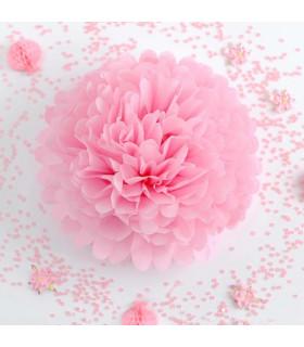 Pompon deco salle papier de soie Rose