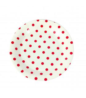 Assiette 23cm motif pois festive Rouge 12 pcs