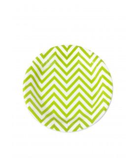 Assiette ronde 18 cm motif chevrons festive Vert 12 pcs