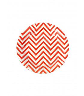 Assiette ronde 18 cm motif chevrons festive Rouge 12 pcs