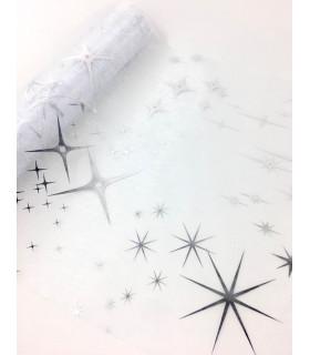 Chemin table noël motif étoile Argent