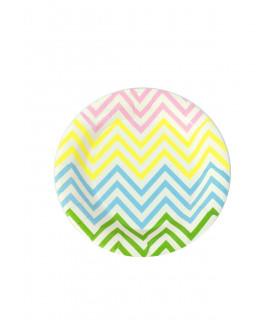 Assiette ronde 18 cm motif chevrons festive Multicolore 12 pcs