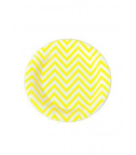Assiette ronde 18 cm motif chevrons festive Jaune 12 pcs