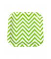 Assiette carré motif chevrons festive Vert 12 pcs