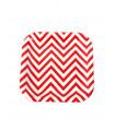 Assiette carré motif chevrons festive Rouge 12 pcs