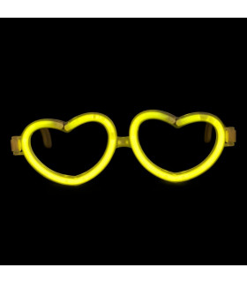 Lunettes lumineuses en forme de coeur Jaune